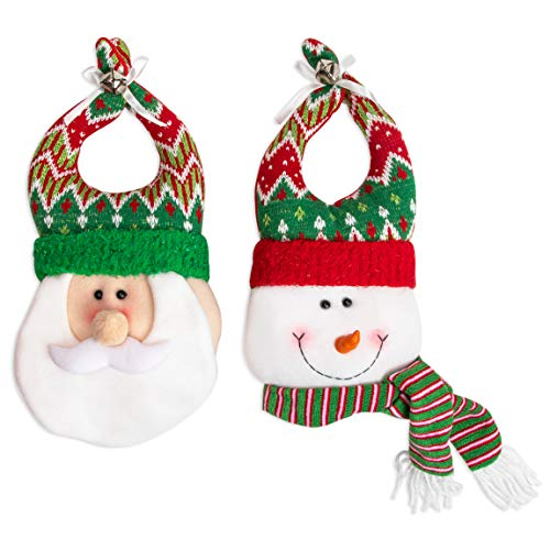 Christmas Door Hangers, Plush Snowman and Santa Claus Holiday Decorations (2 Pieces)