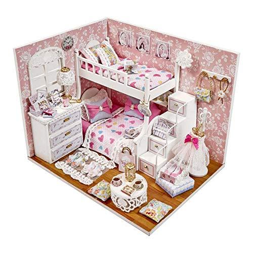 Childlike Muebles Casa De Munecas, Casas De Muñecas con Muebles, DIY Dollhouse, Equipo De Casa De Muñecas De Madera para Navidad Regalo De San Valentín, Ángel De Los Sueños (17.1 X 13.1 X 13.1 CM)