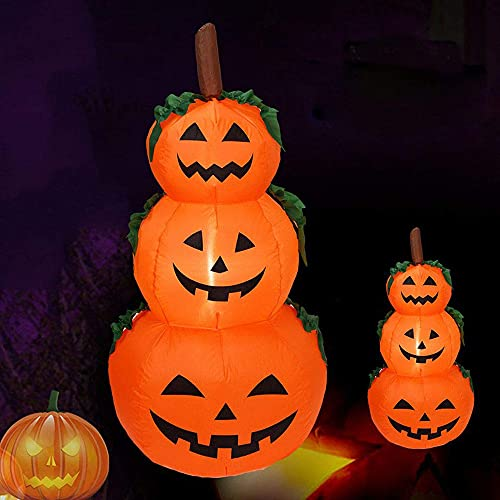 LAUJOY 4 Ft LED Light Halloween Inflatable 3 Pumpkin Stack Decoration Jack-o-Lantern Inflatables for Indoor Outdoor Lawn Garden Home Yard Party