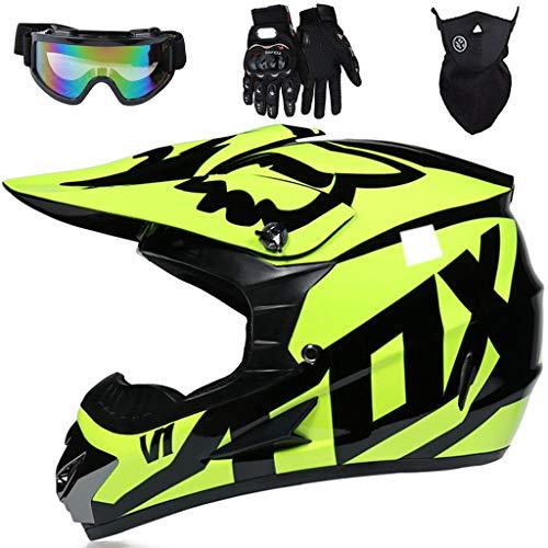 YEDIA-01 - Casco de motocross para niños, unisex, cara completa, para todoterreno, Quad moto, MTB para Dirt Bike BMX MX Downhill Racing, con diseño FOX, amarillo brillante, M