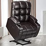 YITAHOME Power Lift Recliner Chair for Elderly, Lift Chair with Heat and Massage, PU Recliner Sofa with 2 Cup Holders, 1 Side Pocket & Front Pocket, Remote Control for Living Room (Brown)