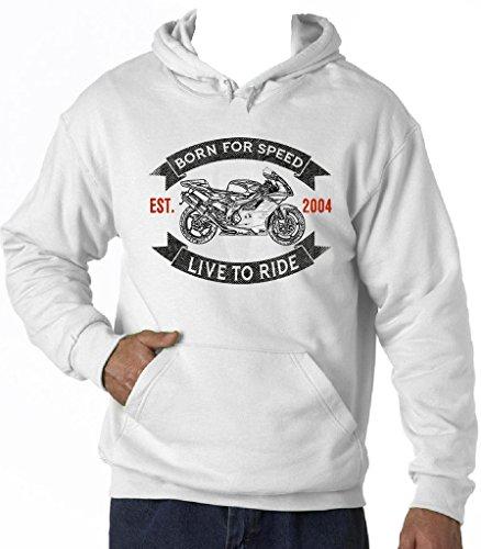 TEESANDENGINES Men's Aprilia RSV 1000R White Hoodie T-Shirt Size Large