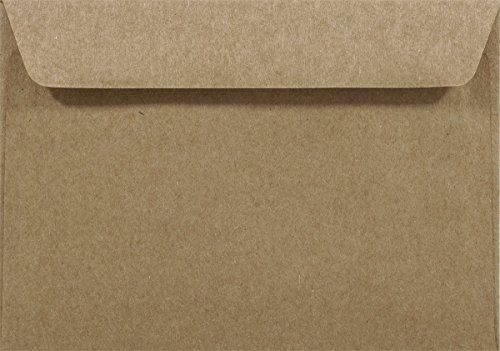25 Sand-Braun DIN C6 Kraftpapier-Umschläge 114x162 mm gerade Klappe ohne Fenster recycelte Umschläge Recycling-Papier Kuverts Natur Vintage Kraftpapier Briefhüllen Braun Briefkuverts aus Naturpapier
