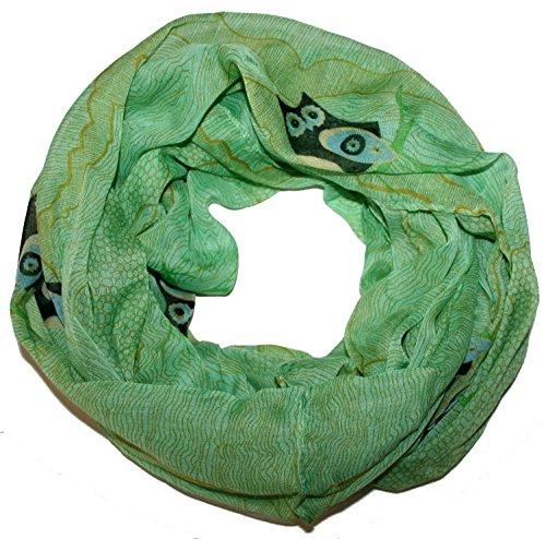 ACC lustiger Eulen Damen Loop Schal - (Owl Eule Kauz) (grün)