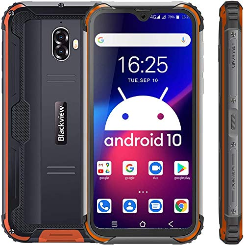 Blackview BV5900 Smartphone Ohne Vertrag Günstig LTE, 5,7 Zoll HD+ Waterdrop Display Helio A22 3GB+32GB, 13MP+5MP Kameras 5580mAh 4G Robustes Handy - NFC/Face ID/IP69K/Fingerabdruck - Orange
