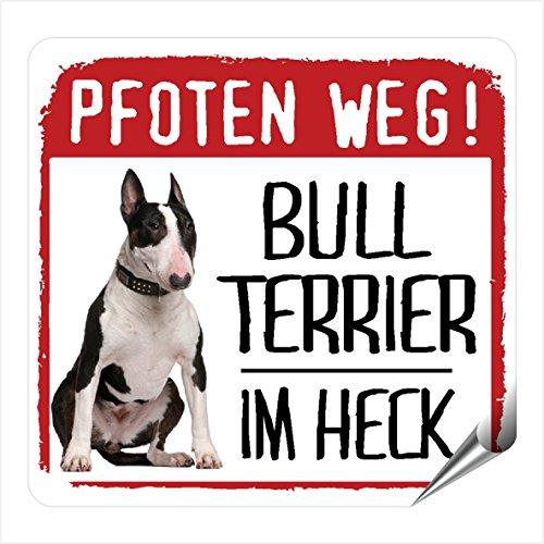 Bullterrier Bull Terrier Kleiner Auto Aufkleber Pfoten Weg Hundeaufkleber REFLEKTIEREND REFLECTIVESiviwonder No.3