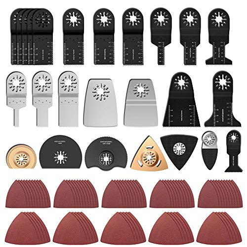 100 Stk Oszillierendes Zubehör Set Mix Multitool Sägeblätter Multifunktionswerkzeug für Fein Multimaster Dremel Dewalt Makita Einhell