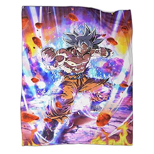 Manta de animación de película Dragon Ball Kakarotto Son Goku Suave y cómoda manta de lana ligera de lana adecuada para viajes y casa playa de 50 x 70 pulgadas (130 x 180 cm)