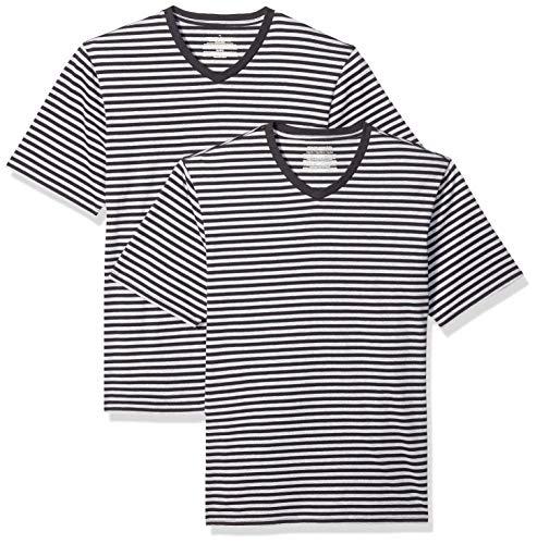 Amazon Essentials - Camiseta holgada a rayas de manga corta con cuello en V para hombre, Negro/Gris jaspeado claro, US M (EU M), Pack de 2