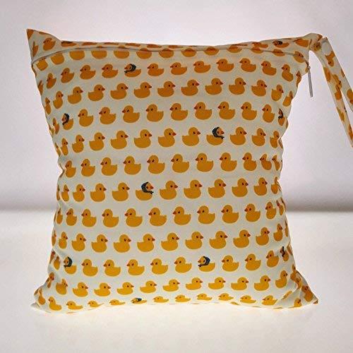 LVEDU - Bolso de pañales lavable con cremallera reutilizable e impermeable, diseño de flores y animales amarillo amarillo