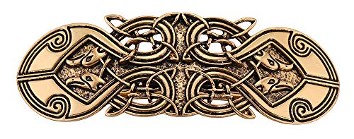 fishhook Vintage Viking Raven Crow Celtic Knot Protection Hair Clip Barrettes Gift for Women (Antique Gold)