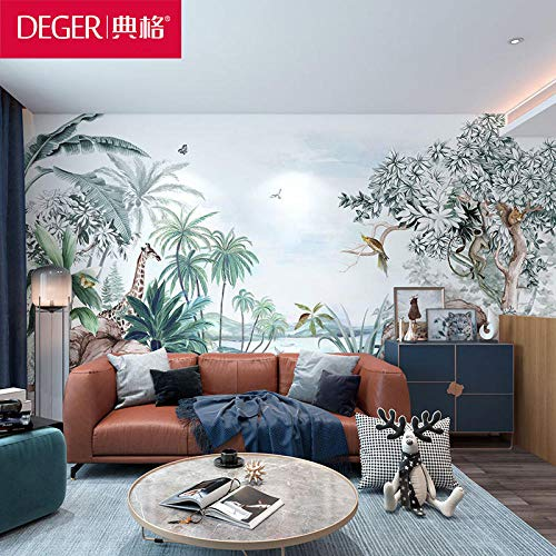 Code muurschildering tropische bos giraffe behang koffie slaapkamer tv achtergrond muur papier restaurant slaapzaal behang 3D behang behang plakken woonkamer plakken de muur 150cm×105cm
