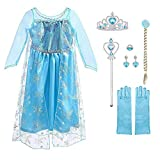 URAQT Ice Queen Princess Deluxe Fancy Costume Snowflakes Train Dress + Accessories 100 For 2-3 years