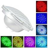 Lampada da Piscina,54W PAR 56 AC 12V,Lampada Sostitutiva faro 300-500W,RGBW Sommergibile con Telecomando,Bianco 6000K,Impermeabile IP68 Luci per Piscina (Par56 54W-RGB)