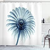 Ambesonne Flower Shower Curtain, Photo of a Daisy Flower with X-Rays Different Look to The Plants in Nature Art Print, Cloth Fabric Bathroom Decor Set with Hooks, 75' Long, Teal White