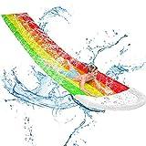 ZRZJBX Acquascivolo - Scivolo Gonfiabile per Spruzzi d'Acqua Eccellente,480cm Riduzione Dell'impatto Scivolo d'Acqua da Corsa Triplodivertimento Ideale in Giardino Estivo per Bambini