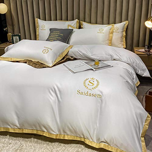 duvet cover single bed,Spring and summer ice silk four-piece set silky nude sleeping day silk bed linen quilt cover silk bedding-S_1.8m bed (4 pieces)