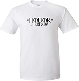 Hodor Hodor Black Logo T Shirt Hold The Door Funny Joke TV Quote Hand King Queen Humor Drink Know Things Adult Short Sleeve Shirt