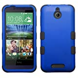 HTC Desire 510 Case - Wydan (TM) TUFF Impact Hybrid Hard Gel Shockproof Case Cover for HTC Desire 510 - Blue on Black w/Wydan Stylus Pen