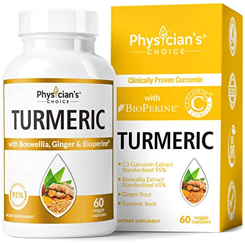 Organic Turmeric Curcumin C3 Complex - Bioperine Black Pepper, Boswellia & Ginger (Clinically Proven C3 Turmeric) 95% Standardized Curcuminoids - Inflammation & Joint Supplement, 60 Capsules