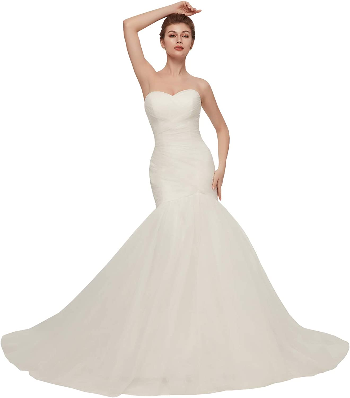 Topbridal Sweetheart Neckline Sleeveless Tulle Mermaid Wedding Gown Corset Bride Dress