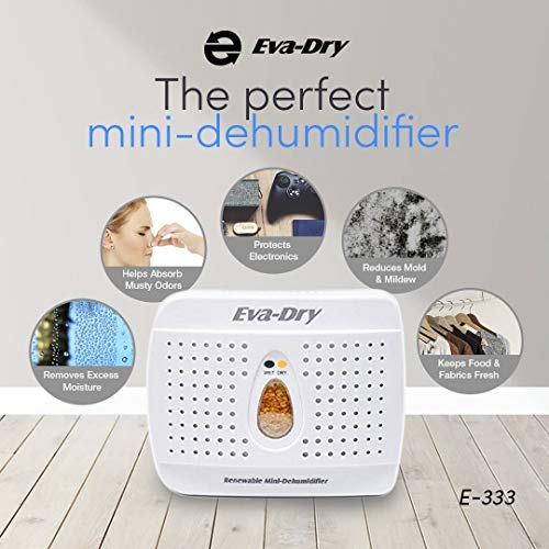 Eva-Dry Wireless Mini Dehumidifier, White (E-333)