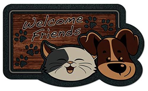 De'Carpet Felpudo Entrada Casa Original Moderno Flocado Gato Perro Amigos 40x70