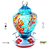 Upgraded Hummingbird Feeder for Outdoors , Glass Bird Feeders Easy to Clean&Filling,Brand Bird Feeder Best with Color Hand Blown Glass,Leakproof 32 Ounces Hummingbird Feeders,Hanging Hook&Ant Moat