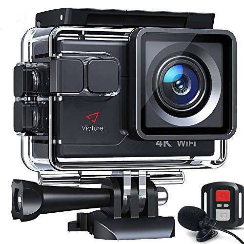Victure AC700 4K Action Camera 20MP Underwater Waterproof Camera with EIS, External Mic, Remote Control, Slow Motion, Timelapse, 170° Wide Angle Sports Cam w/Gopro Compatible Accessories, 2 Batteries