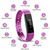 MUZILI Smart Fitness Band Activity Tracker with Heart Rate Monitor, Sleep Monitor Activity Band, Fitness Tracker with 14 Exercise Modes, USB Quick Charge for Android and iOS Smart (Purple)