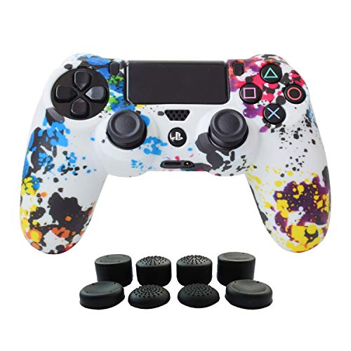 PS4 Controller Cover Silicone Gel Protector Skin Soft case for Sony Playstation 4 PS4/PS4 Slim/PS4 Pro Controller Video Games(1x Controller Cover with 8 x FPS Pro Thumb Grip Caps)(White Paint)