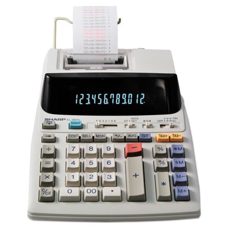 青スナップ投げるシャープel1801?V el-1801?V 2色印刷電卓ブラック/レッド印刷2.1?Lines/sec