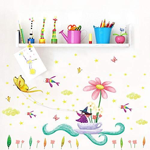 Cartoon Anime Hexe Schmetterling Lotus 50 * 70 Umweltschutz PVC wasserdicht dekorative Sticker-50 * 70