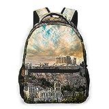 MEJX Mochila Paquete de Almacenamiento,Acrópolis del Partenón de Atenas bajo el espectacular cielo del atardecer de Grecia,Casual Bolsa de Estudiantes de la Escuela Mochila Portátil de Viaje