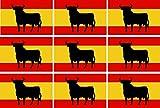 Etaia 2,5x4 cm - Mini Aufkleber Set Fahne/Flagge von von Spanien spanischer Stier Bulle kleine Sticker Auto Motorrad Fahrrad Bike Europa Länder