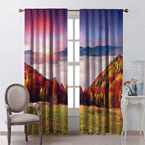 Toopeek Heat insulation curtain Fall Morning Mountain For living room or bedroom W84 x L84 Inch