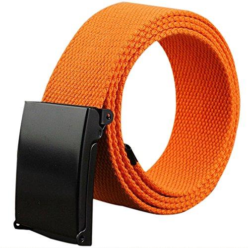 Namgiy - Cinturón Elástico para Hombre, Tejido Elástico, Hebilla Trenzada, Cinturón Ancho para Pantalones, Pantalones Cortos, Pines al Aire Libre, 110 x 3,8 cm, Naranja