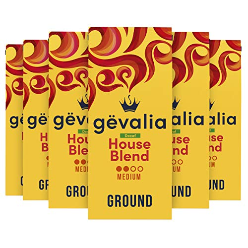 Gevalia Decaf House Blend Medium Roast Ground Coffee (12 oz Bags, Pack of 6)