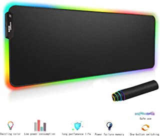 RGB Soft Gaming Mouse Pad Large,Large Size RGB LED Luminous Mouse Pad, USB Detachable, Natural Rubber Non-Slip Bottom, Computer Keyboard Waterproof Mouse Pad-31.5X12IN