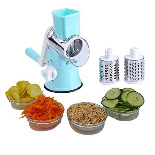 Vegetable Chopper By Famco | Rotary Mandoline Food Slicer - Round Vegetable Cutter, Potato Shredder, Cheese Grater, Nut Grinder - 3 Stainless Steel Blades - Slices, Chops, Juliennes - Dishwasher Safe