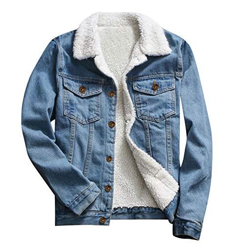 Xmiral Denim Jacke Damen Umlegekragen Knopf Jeans Mantel Plüsch-Innenseite Warm Jacke Retro Slim Fit Herbst Winter Dick Bomberjacke...