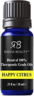 Radha Beauty Happy Citrus Blend 10ml Orange, Lemon, Mandarin, Clementine, Tangerine, Bergamot and Vanilla Promotes Energy ...