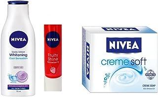 NIVEA WHITENING COOL SENSATION BODY LOTION 200ML + NIVEA CREME SOFT CREME SOAP 50GM + NIVEA STRAWBERRY SHINE LIP BALM 4.8GM