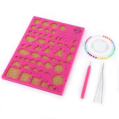 Paper Quilling DIY Craft Kit Vorlage Board + Pinzette + Pins + Schlitz Pen Quilling Werkzeug-Set rosarot