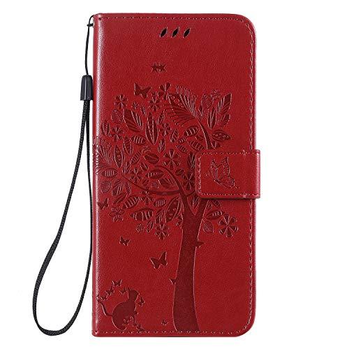 Miagon für Samsung Galaxy A71 Geldbörse Wallet Case,PU Leder Baum Katze Schmetterling Flip Cover Klapphülle Tasche Schutzhülle mit Magnet Handschlaufe Strap