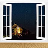 KEIRUNNRUGS Creative Window Wall Sticker Wall Mural Safari Tent Under Beautiful African Star Sky Self Adhesive Removable Wall Decal Posters Wall Art Decor for Living Room 100x144inch