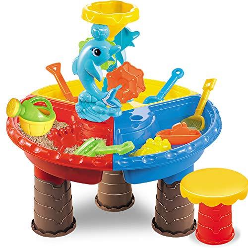 TEMI Beach Sand Toys Set with Activity Sand Water Table, Storage Sandbox Desk Playset to Create Summer Fun, Outdoor Toys w/ Dolphin Water Wheel, Molds, Bucket, Shovel (Dolphin Round)