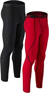 Men's 2 Pack Compression Cool Dry Tights Baselayer Running Active Leggings Pants