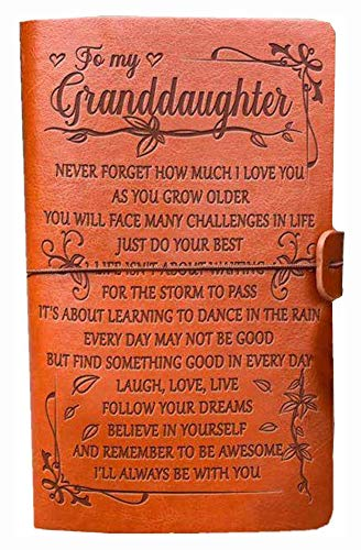 Graduation Birthday Gifts for Granddaughter - to My Granddaughter Leather Journal - 120 Page Travel Diary Journal Back to School/Christams/Wedding Gift for Girls
