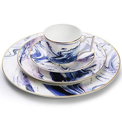 SZJY 4 TLG. Porzellan Geschirrset Lila Tinte Geschirr Set Flache Platte Kaffeetasse und Untertasse Set Mikrowellengeeignet